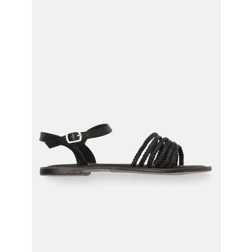 DressBerry Women Black Woven Design Open Toe Flats