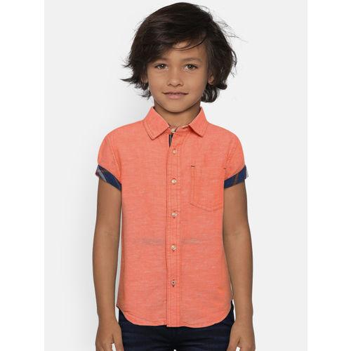 UFO Boys Orange Regular Fit Solid Casual Shirt