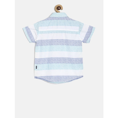Pepe Jeans Boys Blue & White Regular Fit Striped Casual Shirt
