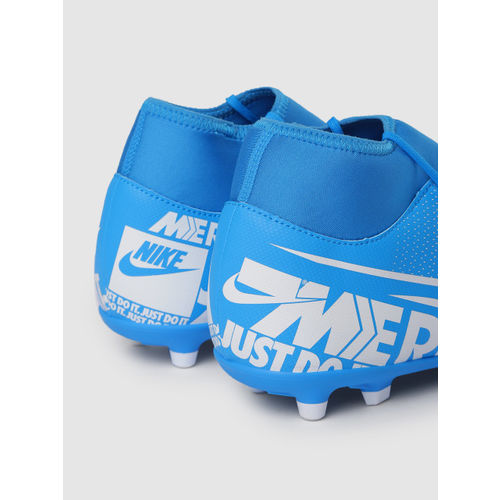 Nike Unisex Blue & White SUPERFLY 7 CLUB Mid-Top Football Shoes