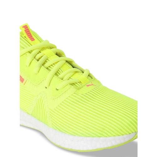 Puma Women Yellow Mesh Mid-Top Running Shoes