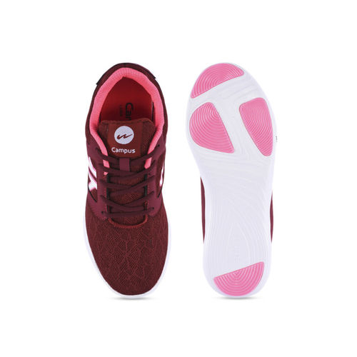 Campus Women Maroon Mesh Running Shoes