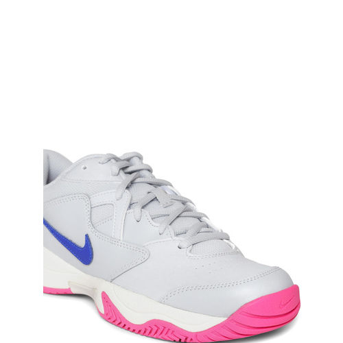 Nike Women Grey COURT LITE 2 Leather Tennis Shoes
