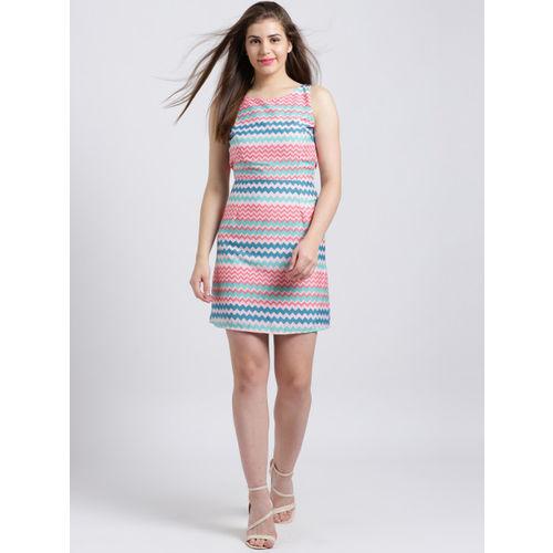 Sibi Women Pink & Blue Striped Sheath Dress