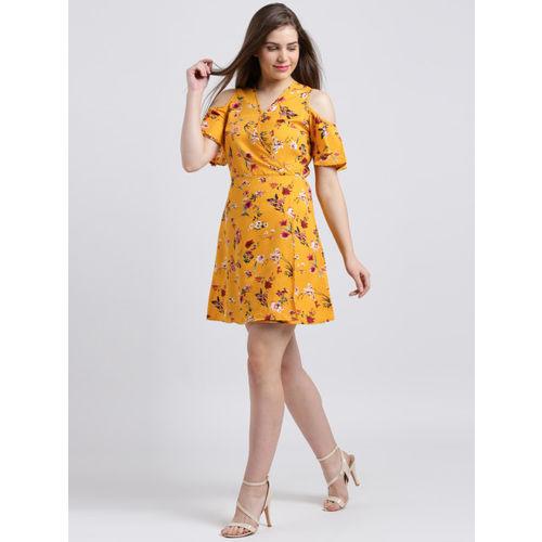 Sibi Women Yellow Printed Wrap Dress