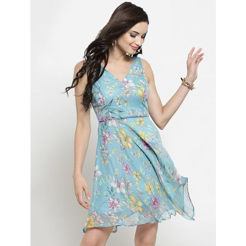 Sera Women Blue & Pink Fit and Flare Dress