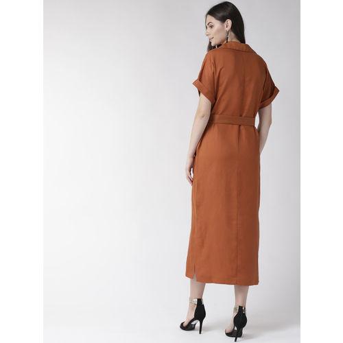 Marks & Spencer Women Rust Brown Shirt Dress with Belt