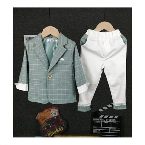 Pre Order - Awabox Full Sleeves Checked Blazer With Bottom - Green