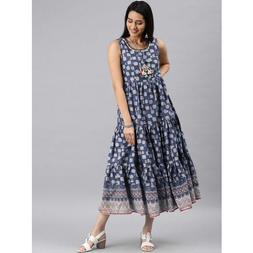 Biba Women Navy Blue & White Printed Flared Tiered Dress