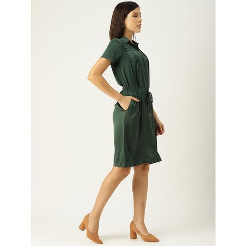 Allen Solly Woman Green Solid Shirt Dress
