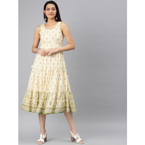 Biba Women Cream-Coloured & Green Printed Flared Tiered Dress