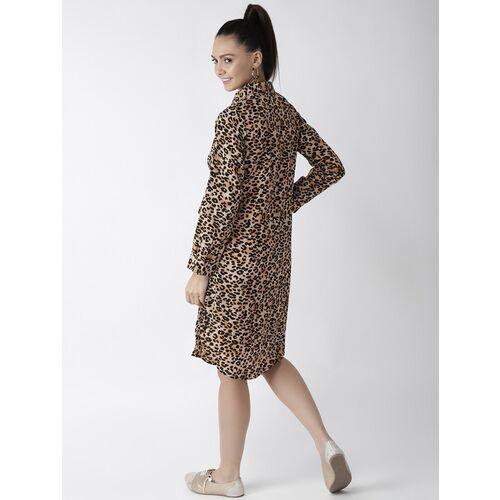 plusS Women Beige & Black Leopard Print Shirt Dress