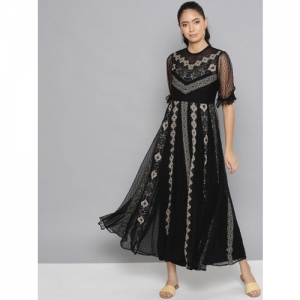 Label Ritu Kumar Women Black & Beige Printed Net Maxi Dress