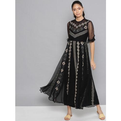 Label Ritu Kumar Women Black & Beige Printed Net Maxi Dress