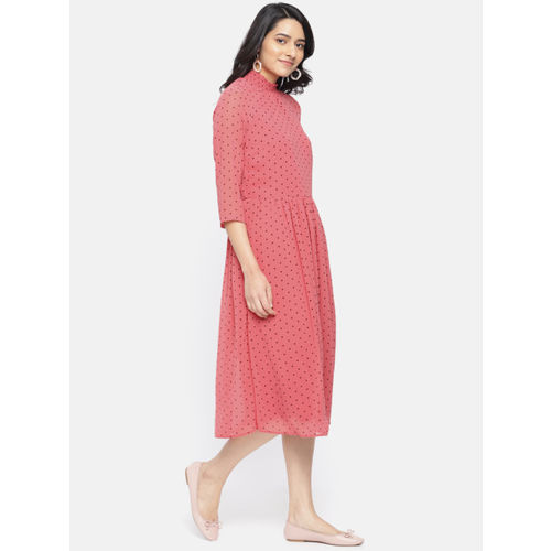 Vero Moda Women Pink Fit and Flare Dress