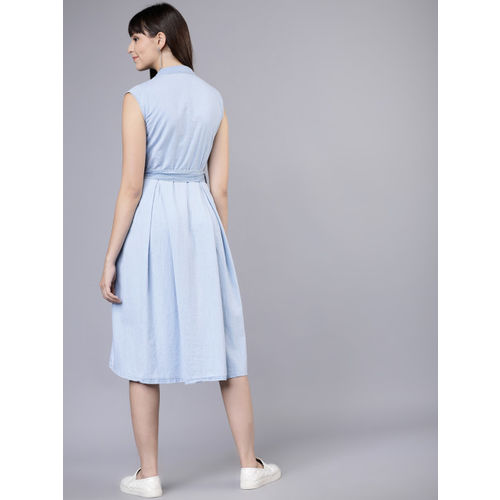 Tokyo Talkies Women Blue Solid Shirt Dress