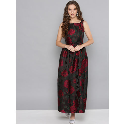 Label Ritu Kumar Women Brown & Red Embroidered Maxi Dress