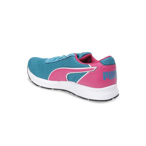 Puma Women Pink & Turquoise Blue Mesh Metal Knit IDP Wn s Running Shoes