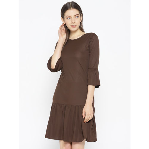 Karmic Vision Women Brown Solid Drop-Waist Dress