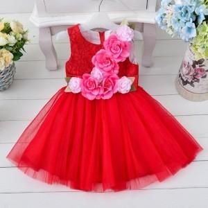 MeiQ Red Satin Party Wear Dress
