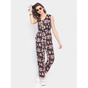 Faballey Black Floral Print Regular Fit Jumpsuit