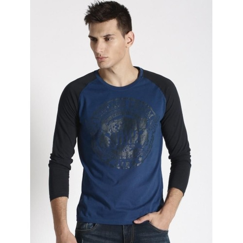 Buy Roadster Blue & Black Cotton Printed Full Sleeve T-Shirt ...