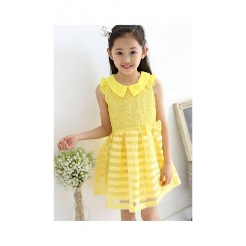 94f0111dc08 Buy Dells World Yellow Peter Pan Collar Sleeveless Frock online ...