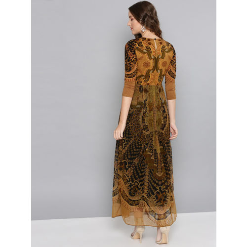 Label Ritu Kumar Women Brown Printed Maxi Dress