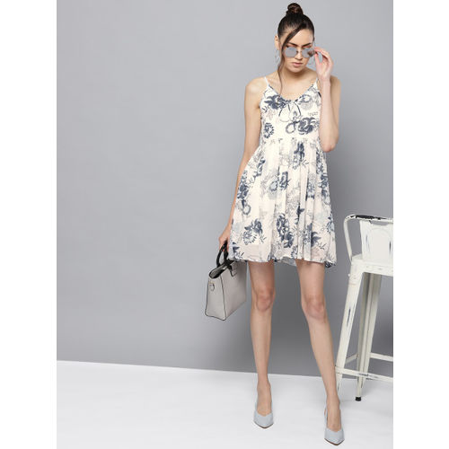 Trend Arrest Women Off-White & Grey Printed A-Line Dress