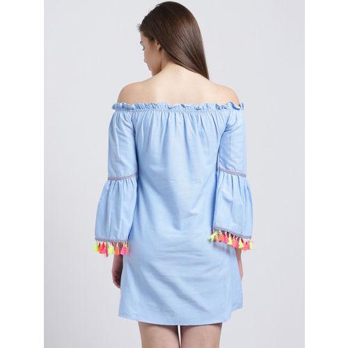 Sibi Women Blue Solid A-Line Dress