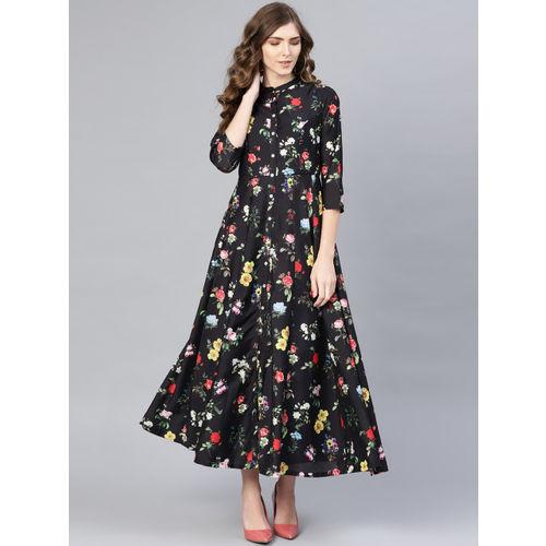 Biba Women Black & Red Printed Maxi Dress