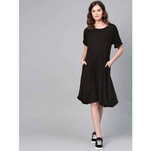 Femella Women Black Solid A-Line Dress