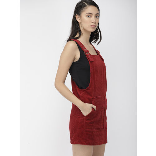 FOREVER 21 Women Rust Brown Corduroy Pinafore Dress