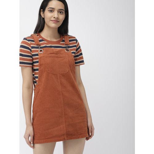 FOREVER 21 Women Rust Orange Corduroy Pinafore Dress