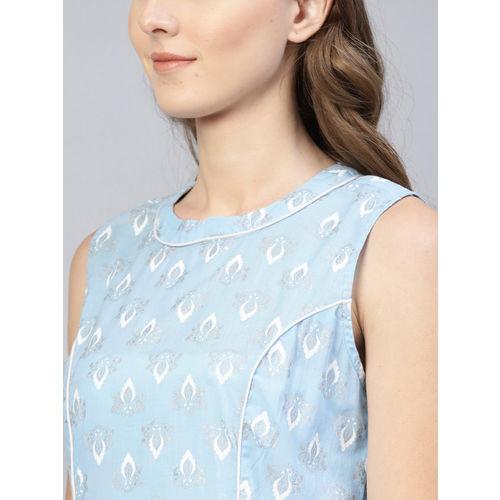 AKS Women Blue & White Khadi Print A-Line Dress