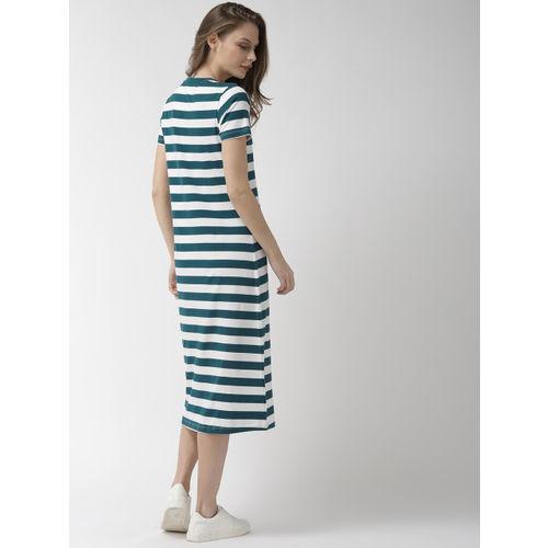 Mast & Harbour Women Green & White Striped T-shirt Dress