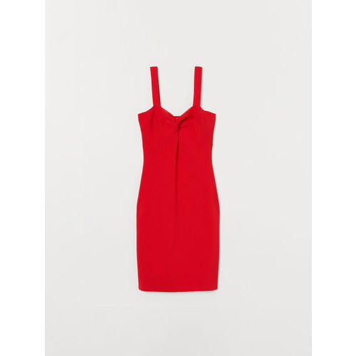 H&M Women Red Solid Ribbed Bodycon Dress