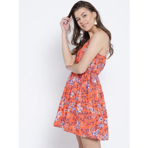 Sera Women Orange & Blue Floral Print A-Line Dress