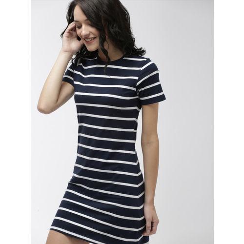 Mast & Harbour Women Navy Blue & White Sheath Dress