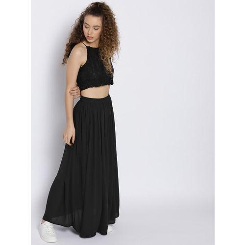 Sera Women Black Lace Detail Two Piece Maxi Dress