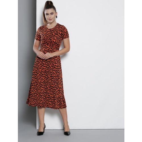 DOROTHY PERKINS Women Rust Orange & Black Printed A-Line Dress