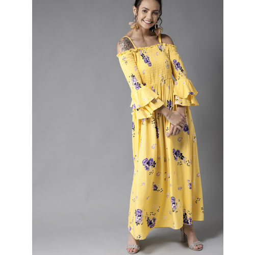 HERE&NOW Women Yellow & Blue Printed Off-Shoulder Maxi Dress