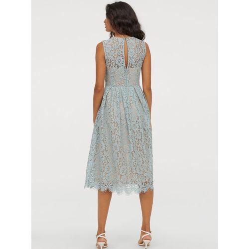 H&M Women Blue Calf-Length Lace Dress