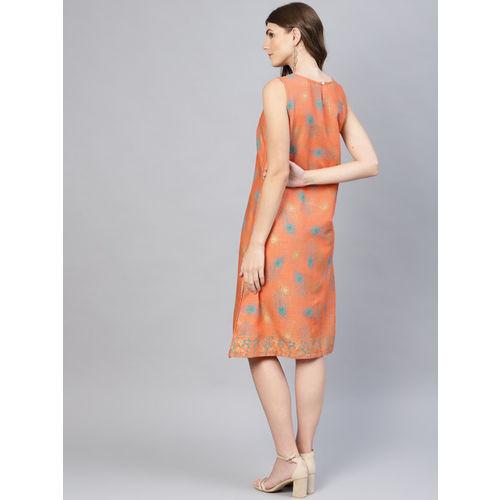AKS Women Orange & Teal Green Printed A-Line Dress