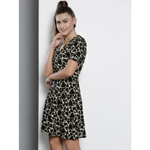 DOROTHY PERKINS Women Black & Beige A-Line Dress