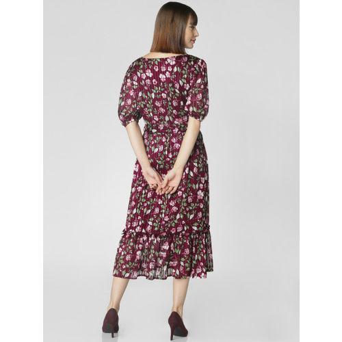 Vero Moda Women Burgundy Fit and Flare Midi Dress