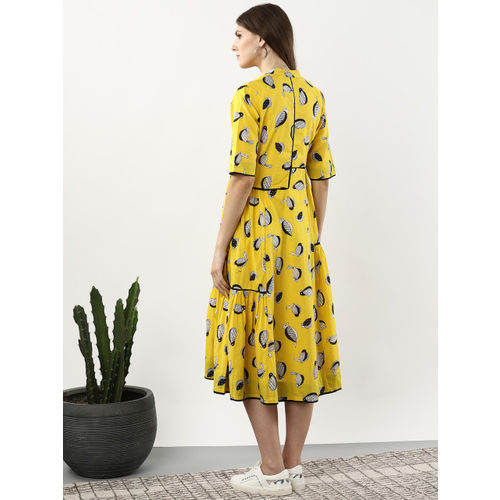 Sangria Women Yellow & Black Printed A-Line Dress