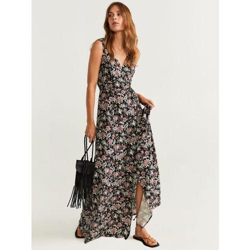 MANGO Women Black & Dusty Pink Floral Print Maxi Dress
