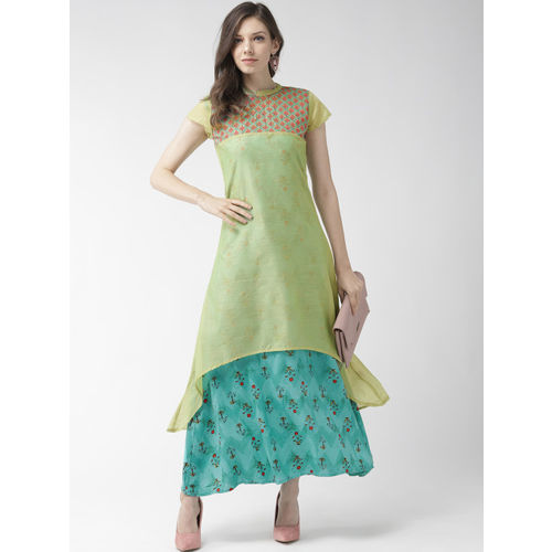 RANGMAYEE Women Green & Blue Printed Layered A-Line Dress