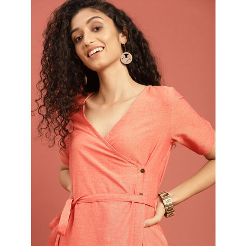 Taavi Women Orange Solid Hand Block Print Legacy Angrakha Dress with Tie-Up